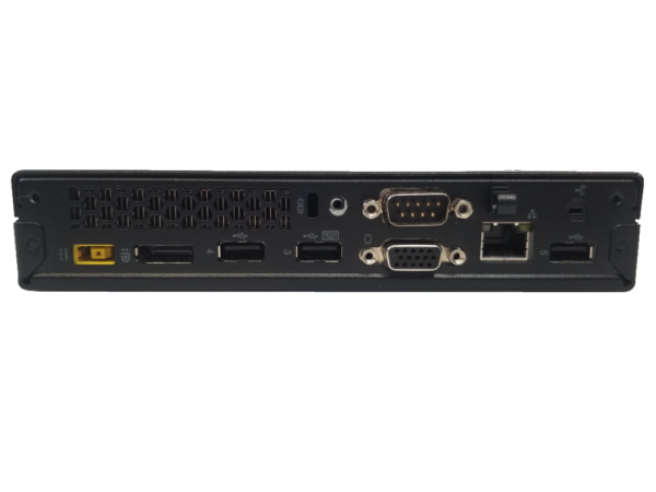 This photo shows the back of a Lenovo ThinkCenter M73